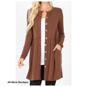 Long cardigan mocha brown button detail NWT